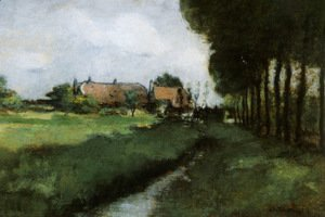 Landscape With Houses and Stream
