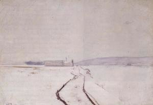 John Henry Twachtman - Along The River  Winter