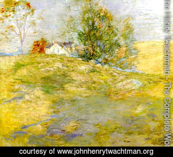 John Henry Twachtman - Artists Home In Autumn  Greenwich  Connecticut