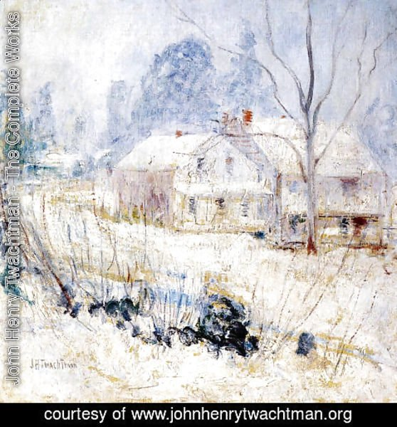 John Henry Twachtman - Country House In Winter  Cos Cob
