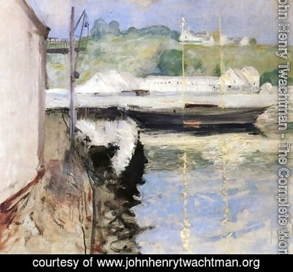 John Henry Twachtman - Fish Sheds And Schooner  Gloucester