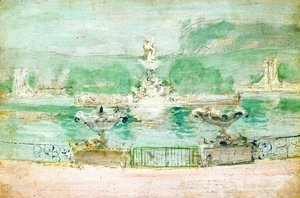 John Henry Twachtman - Fountain  Worlds Fair