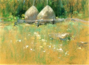 John Henry Twachtman - Haystacks At Edge Of Woods