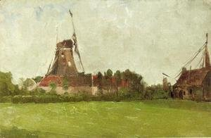 John Henry Twachtman - Holland Aka Windmill In The Dutch Countryside