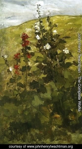 John Henry Twachtman - Hollyhocks