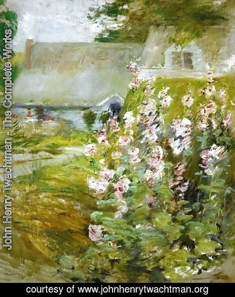 John Henry Twachtman - Hollyhocks2