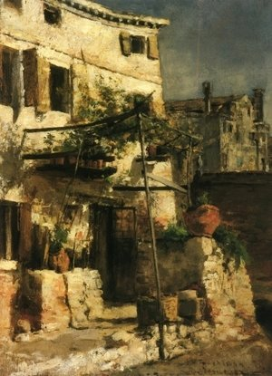 John Henry Twachtman - House On A Canal  Venice