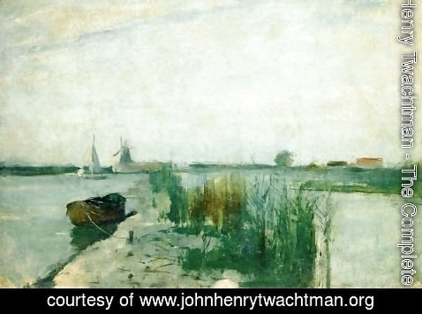 John Henry Twachtman - Scene Along A Dutch River