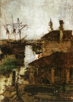 John Henry Twachtman - Ship And Dock  Venice