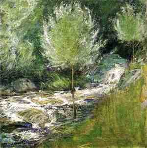 John Henry Twachtman - The Brook  Greenwich  Connecticut Aka Horseneck Falls  Greenwich  Connecticut