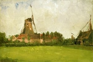 John Henry Twachtman - Windmill In The Dutch Countryside
